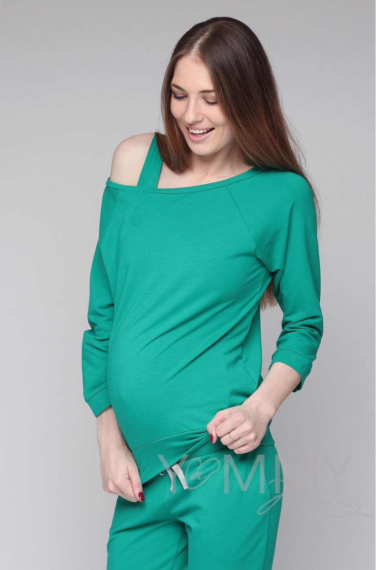 Изображение                               Джемпер со спущенным плечом зеленый