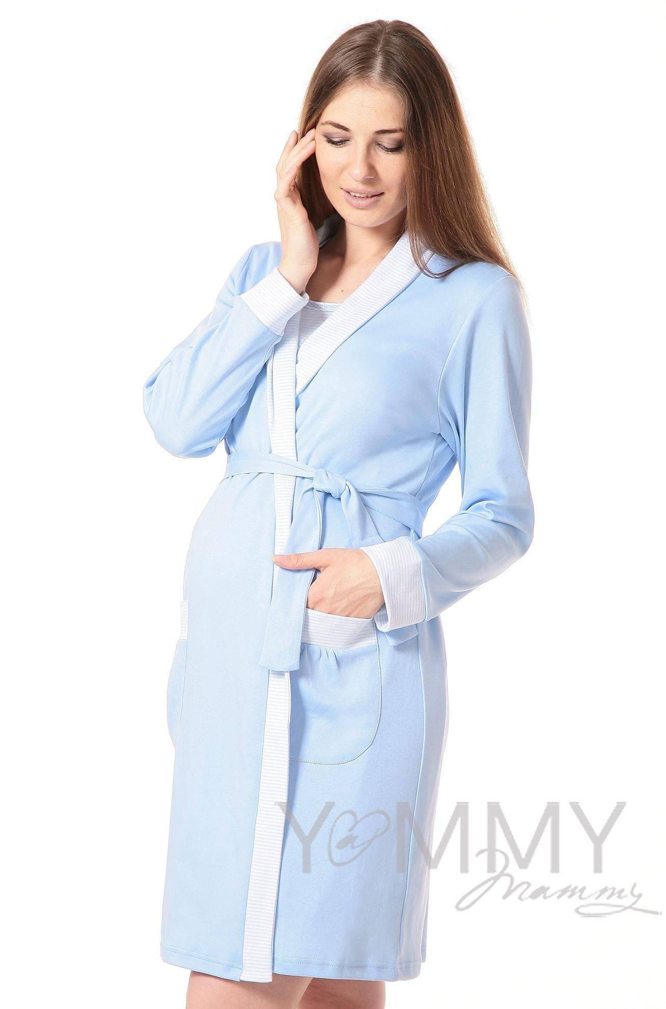 Изображение                               Комплект халат с сорочкой голубой/белая полоска