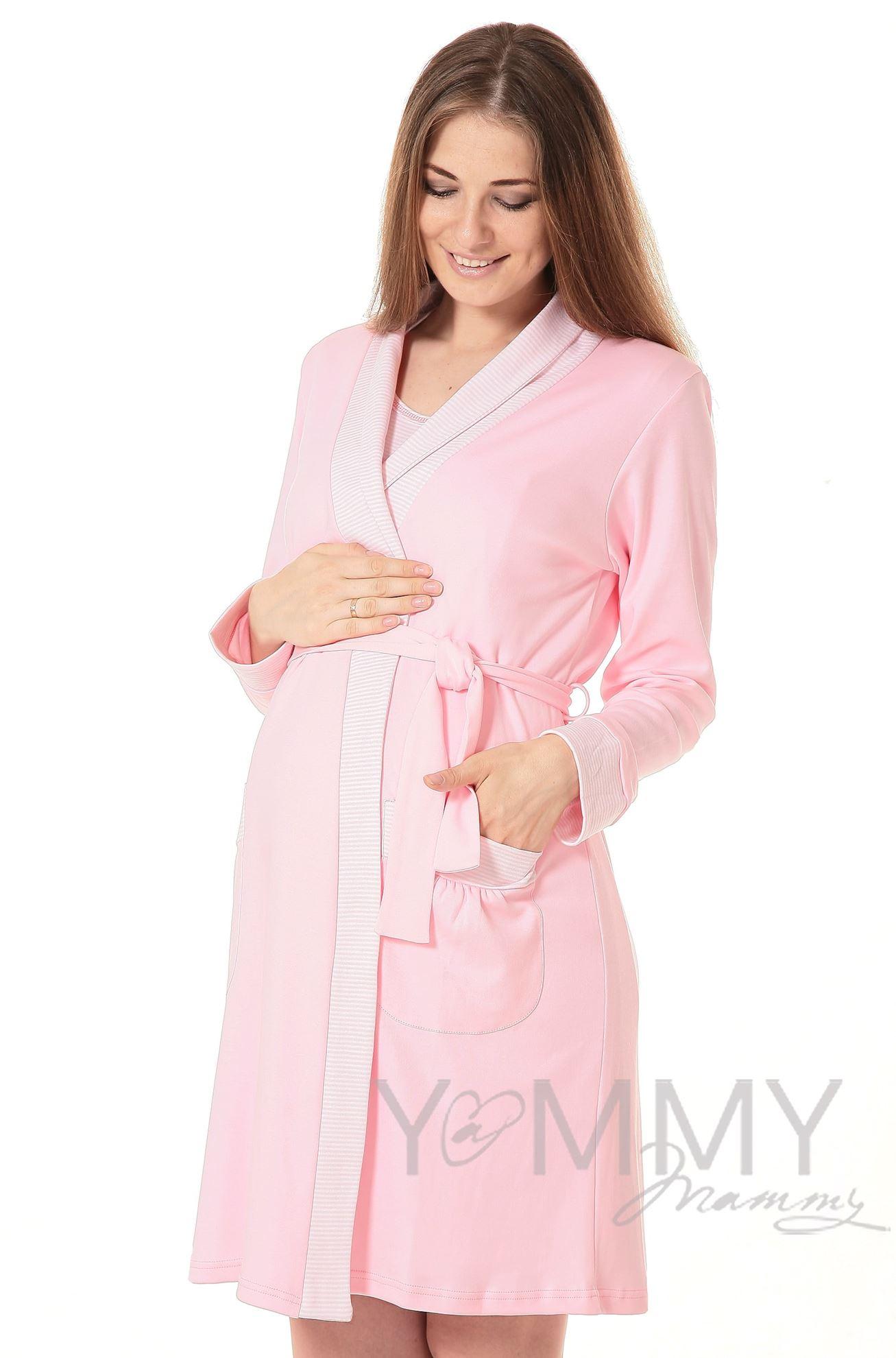 Изображение                               Комплект халат с сорочкой розовый/белая полоска