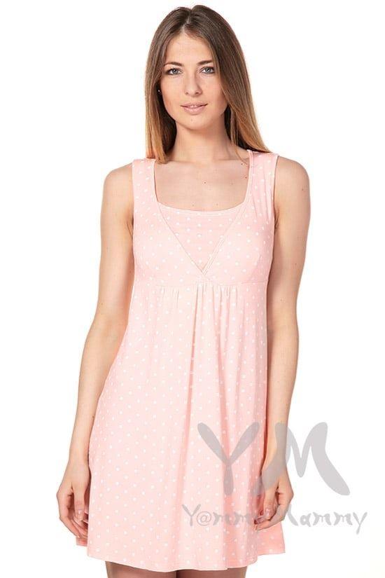 Изображение                               Сорочка со сборкой розовая в белый горошек