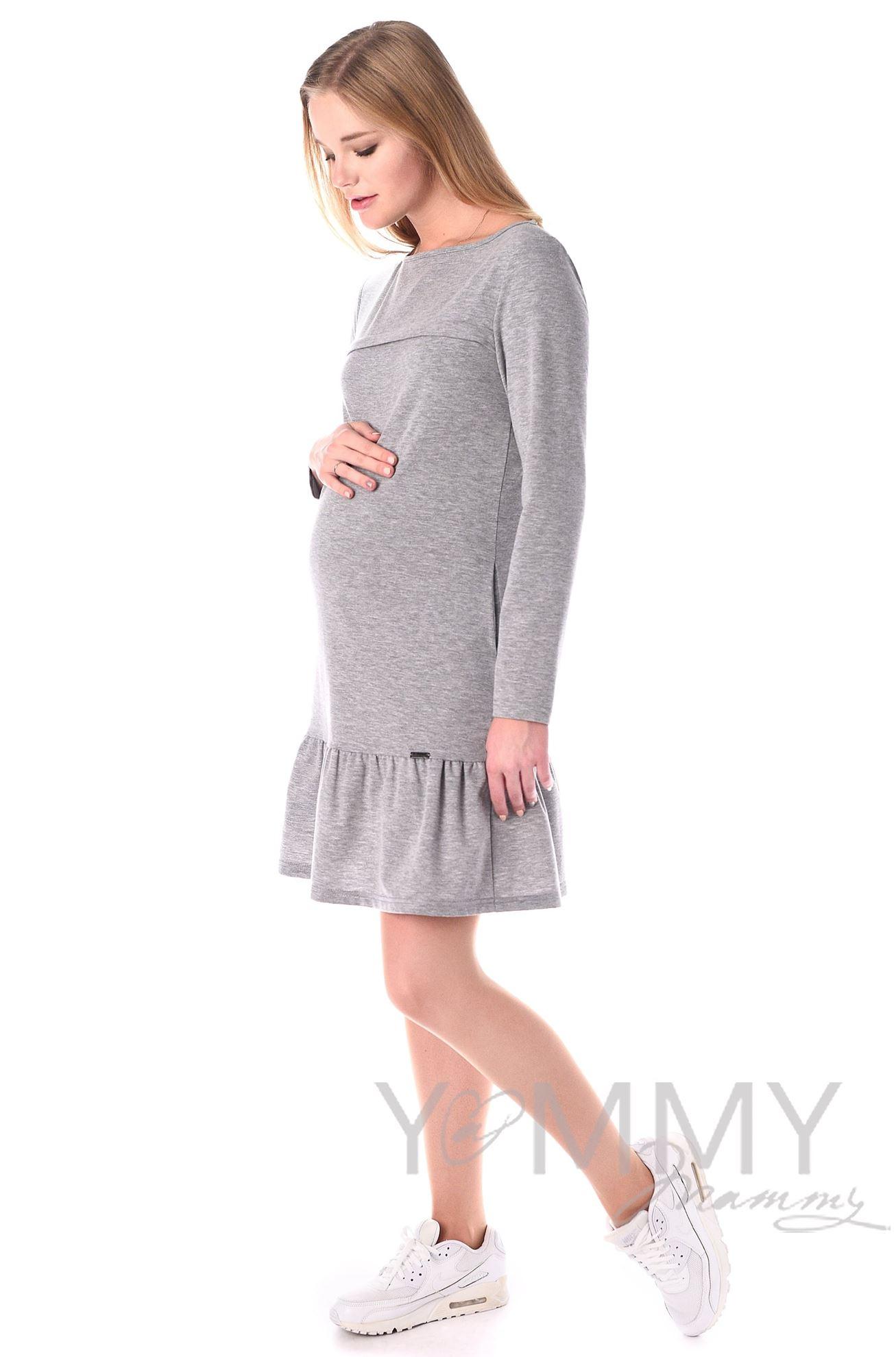 Изображение                               Платье с воланом серый меланж