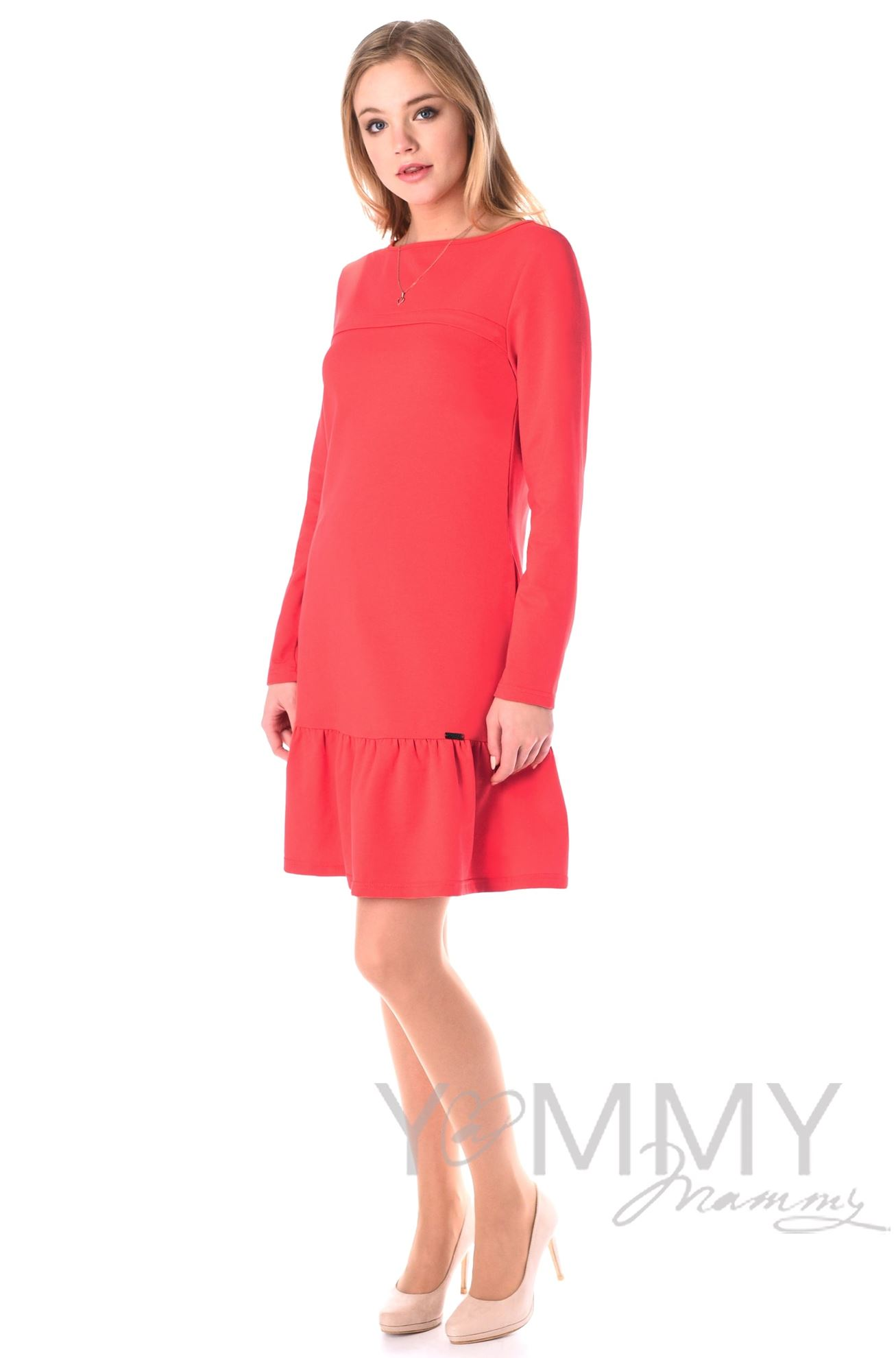 Изображение                               Платье с воланом коралл