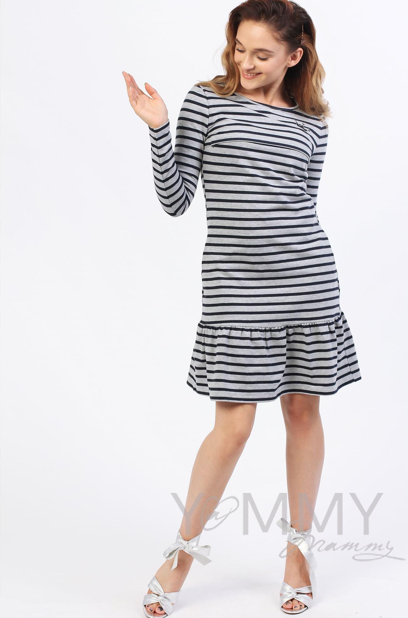 Изображение                               Платье с воланом серый меланж в полоску
