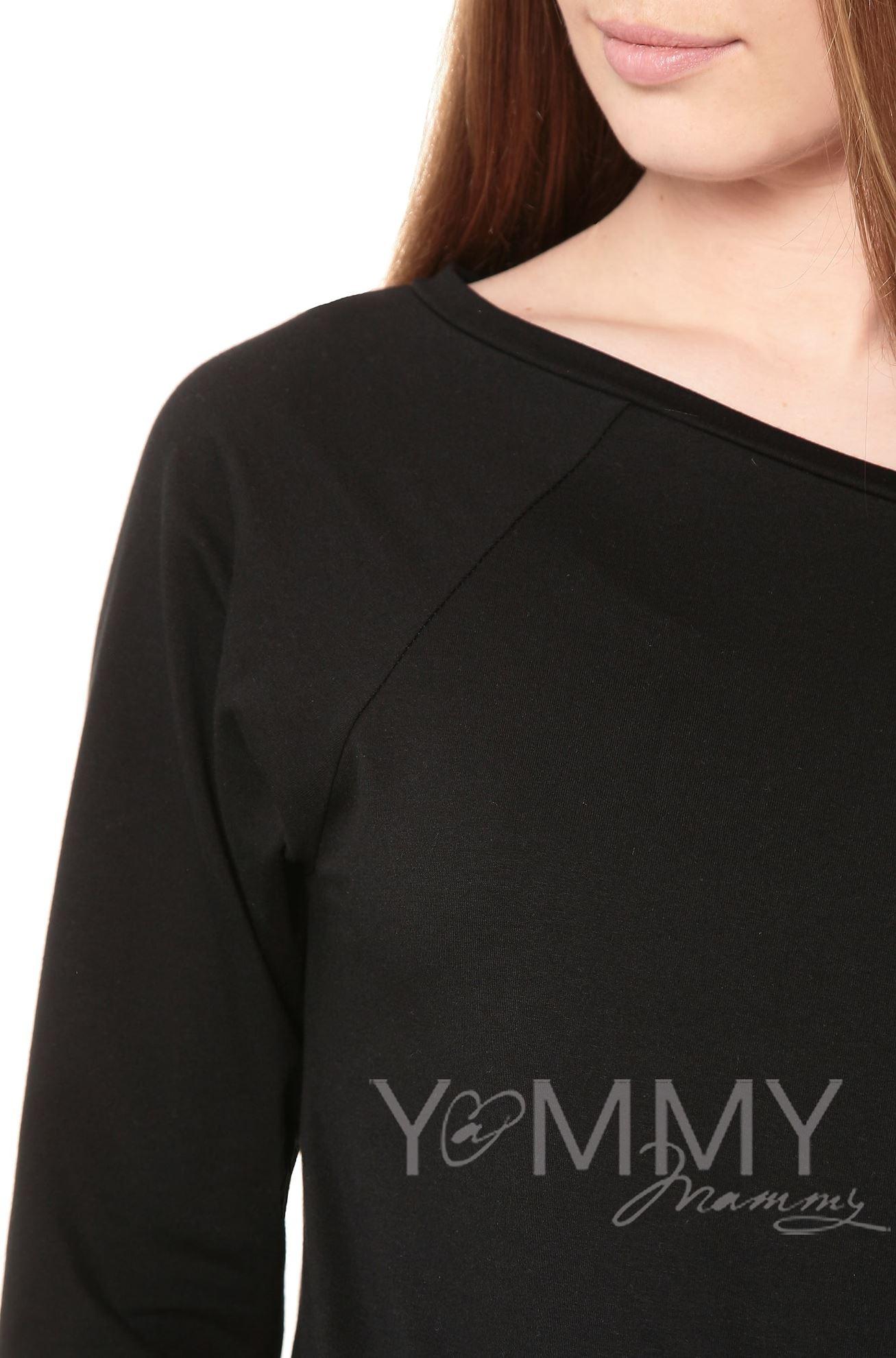 Изображение                               Джемпер со спущенным плечом черный