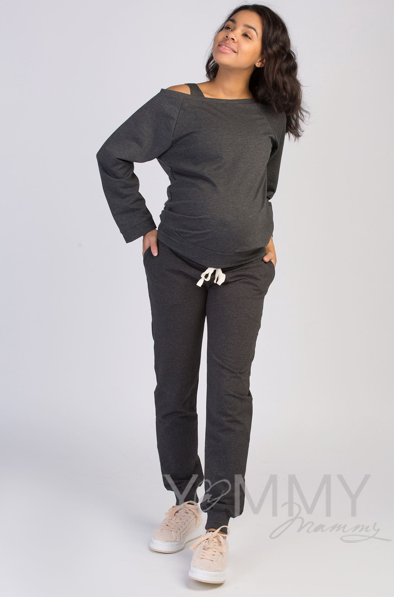 Изображение                               Джемпер со спущенным плечом темно-серый меланж