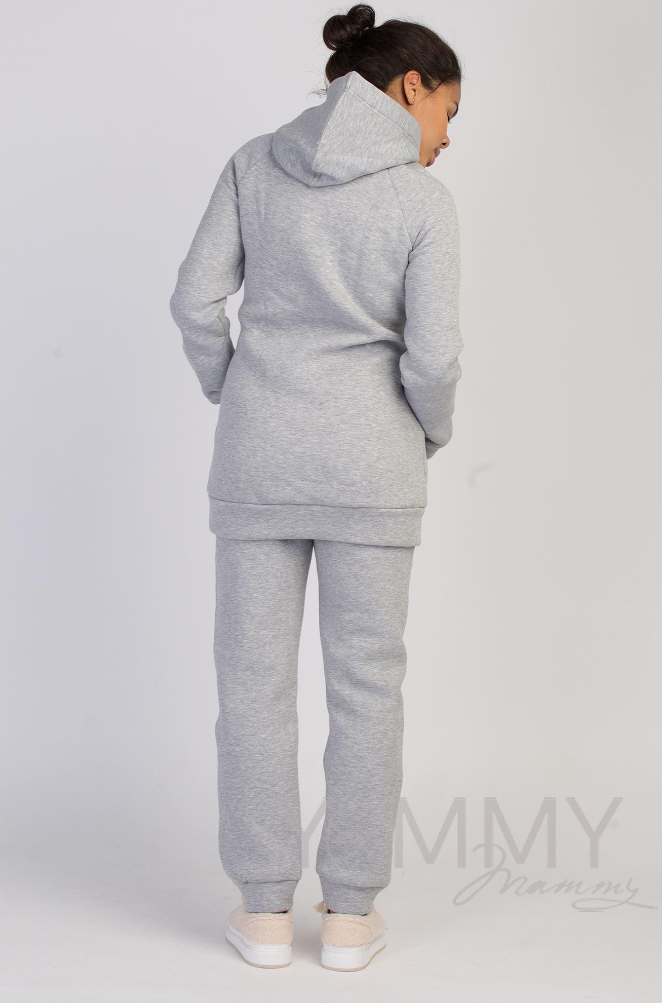 Изображение                               Универсальные брюки с начесом серый меланж