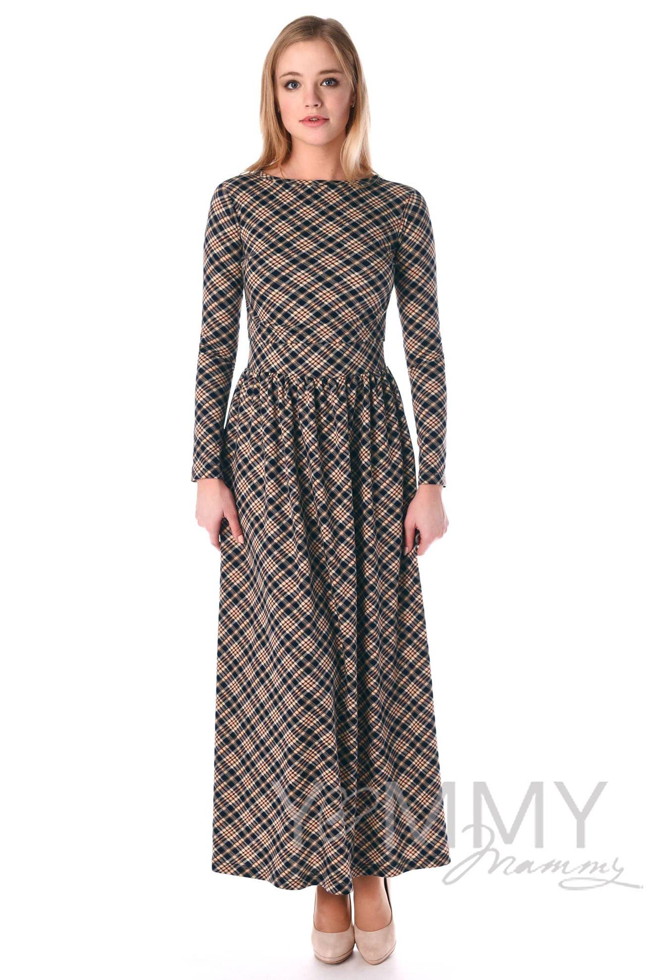 Изображение                               Платье длинное с карманами в бежевую/темно-синюю клетку
