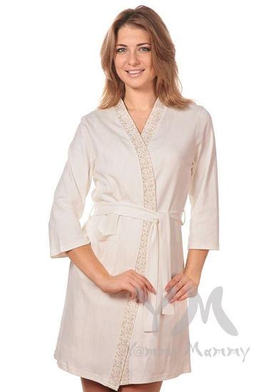 Изображение                               Комплект халат с сорочкой экрю/бежевые цветы