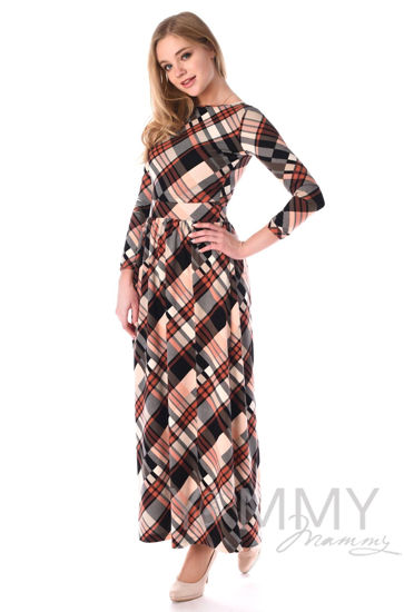 Изображение                               Платье длинное с карманами в розовую/серую клетку