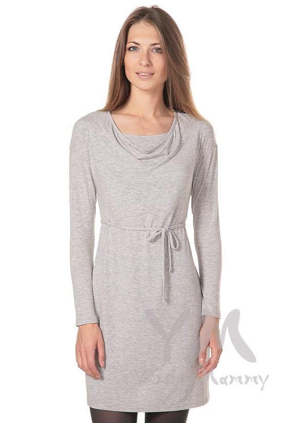 """Изображение                               Платье с горловиной """"качелька"""" светло-серый меланж"""