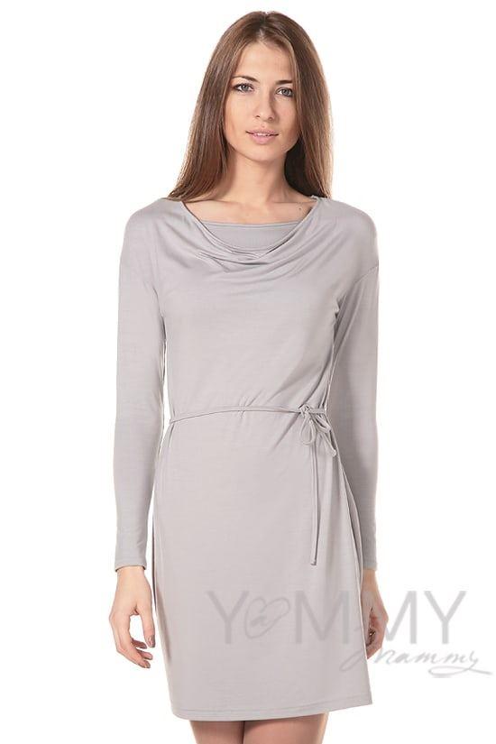 """Изображение                               Платье с горловиной """"качелька"""" из модала серый жемчуг"""