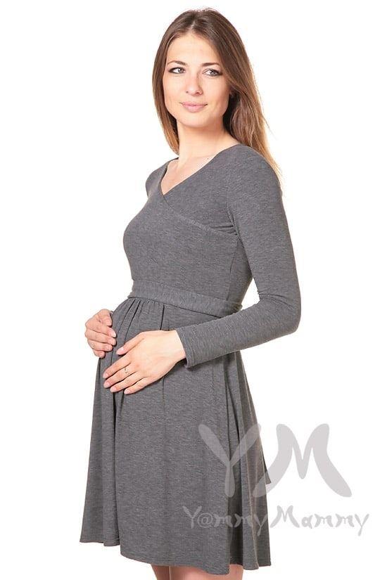 Изображение                               Платье с широким поясом серое