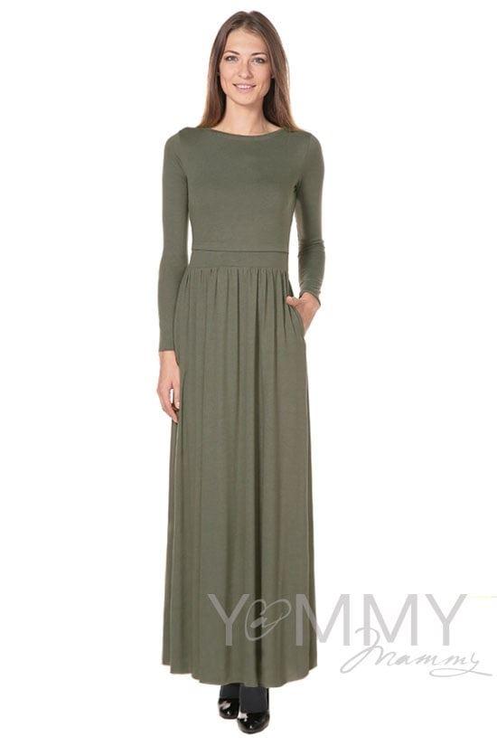 Изображение                               Платье длинное с карманами хаки