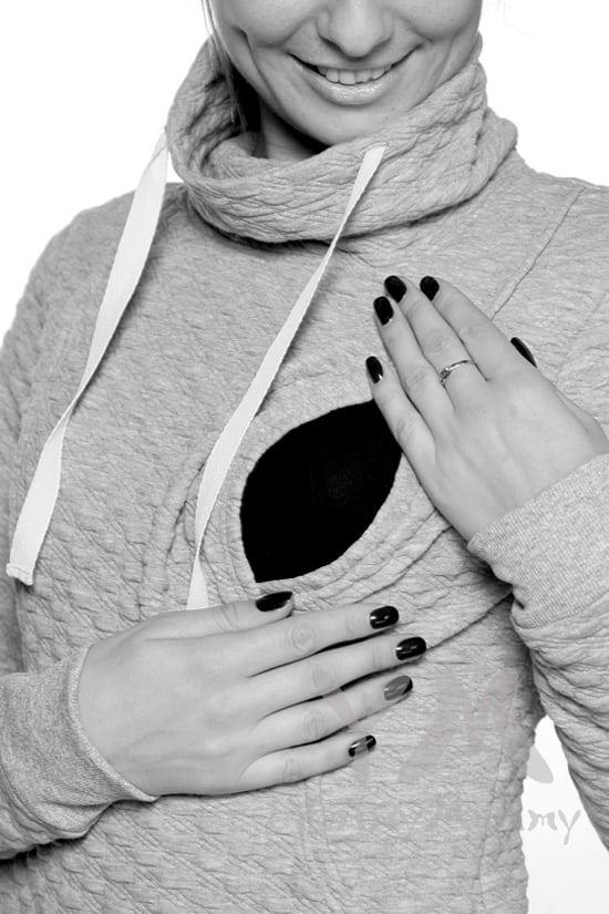 Изображение                               Толстовка с высоким горлом серый меланж