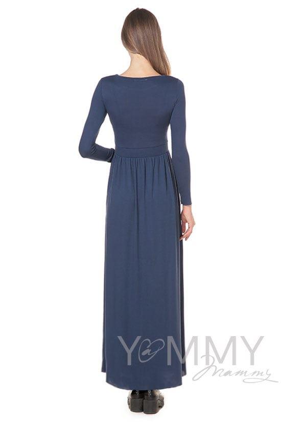 Изображение                               Платье длинное с карманами темный индиго