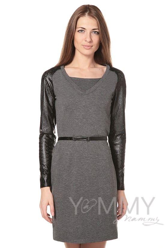 Изображение                               Платье с рукавами из эко-кожи серый меланж
