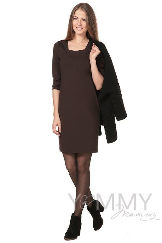 Изображение                               Платье - футляр темный шоколад