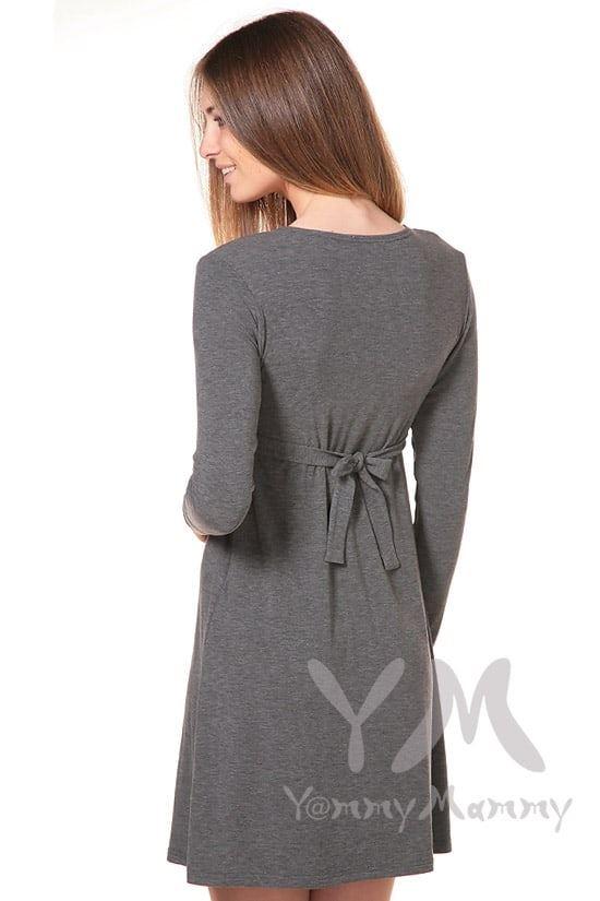 Изображение                               Платье серый меланж с пояском на спине