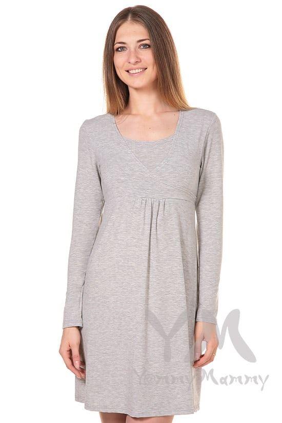 Изображение                               Платье светло-серый меланж с пояском на спине