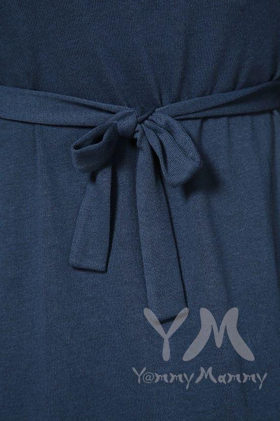 Изображение                               Платье темный индиго с пояском на спине