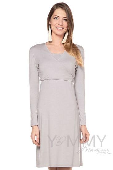 Изображение                               Платье на запах серый жемчуг