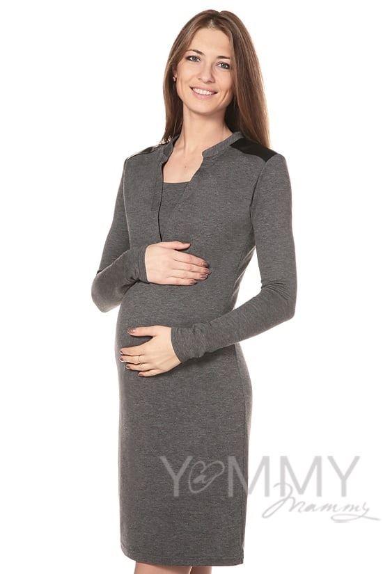 Изображение                               Платье с отделкой из экокожи темно-серый меланж