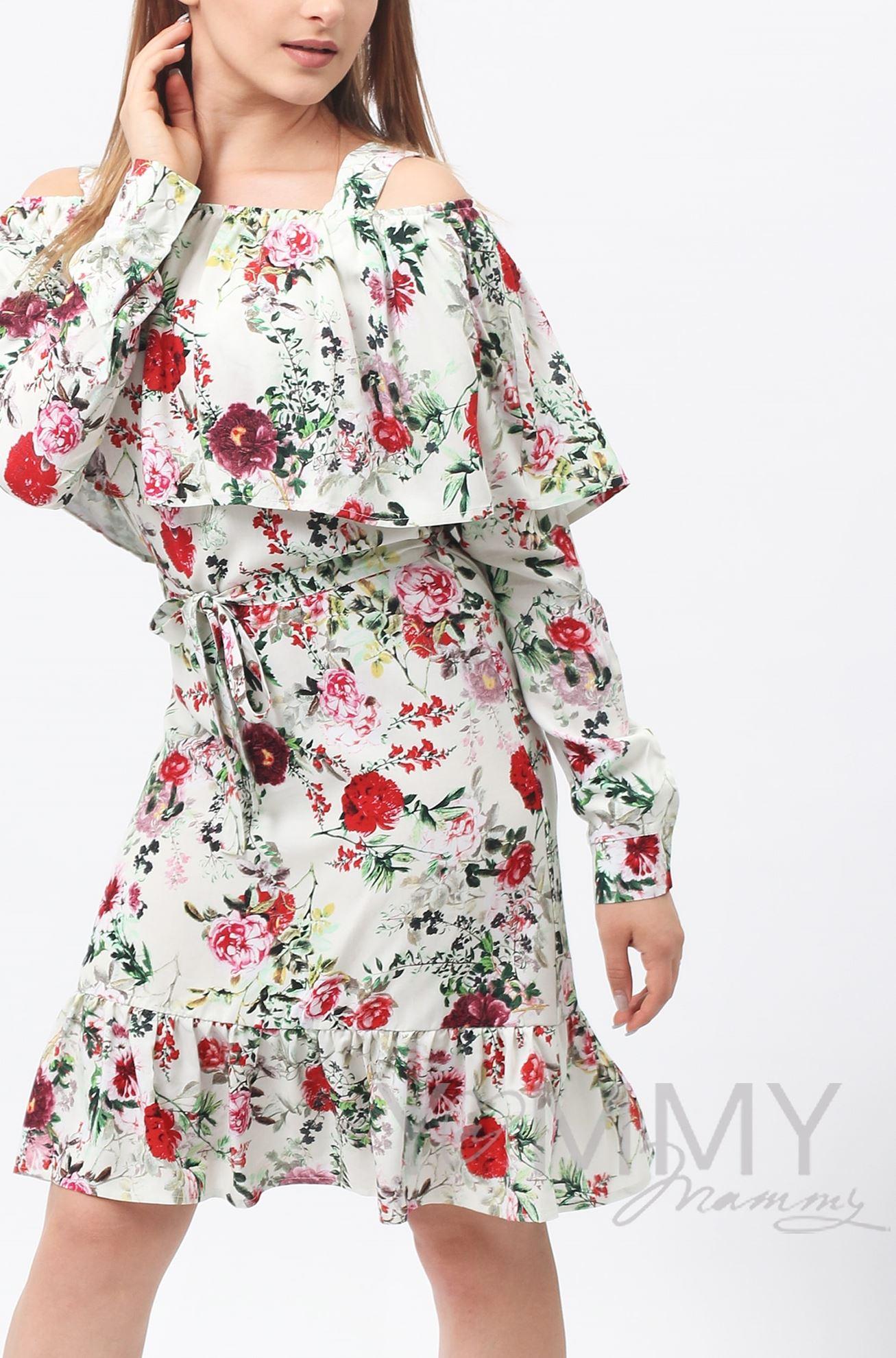 Изображение                               Платье с воланом и длинным рукавом с цветочным принтом