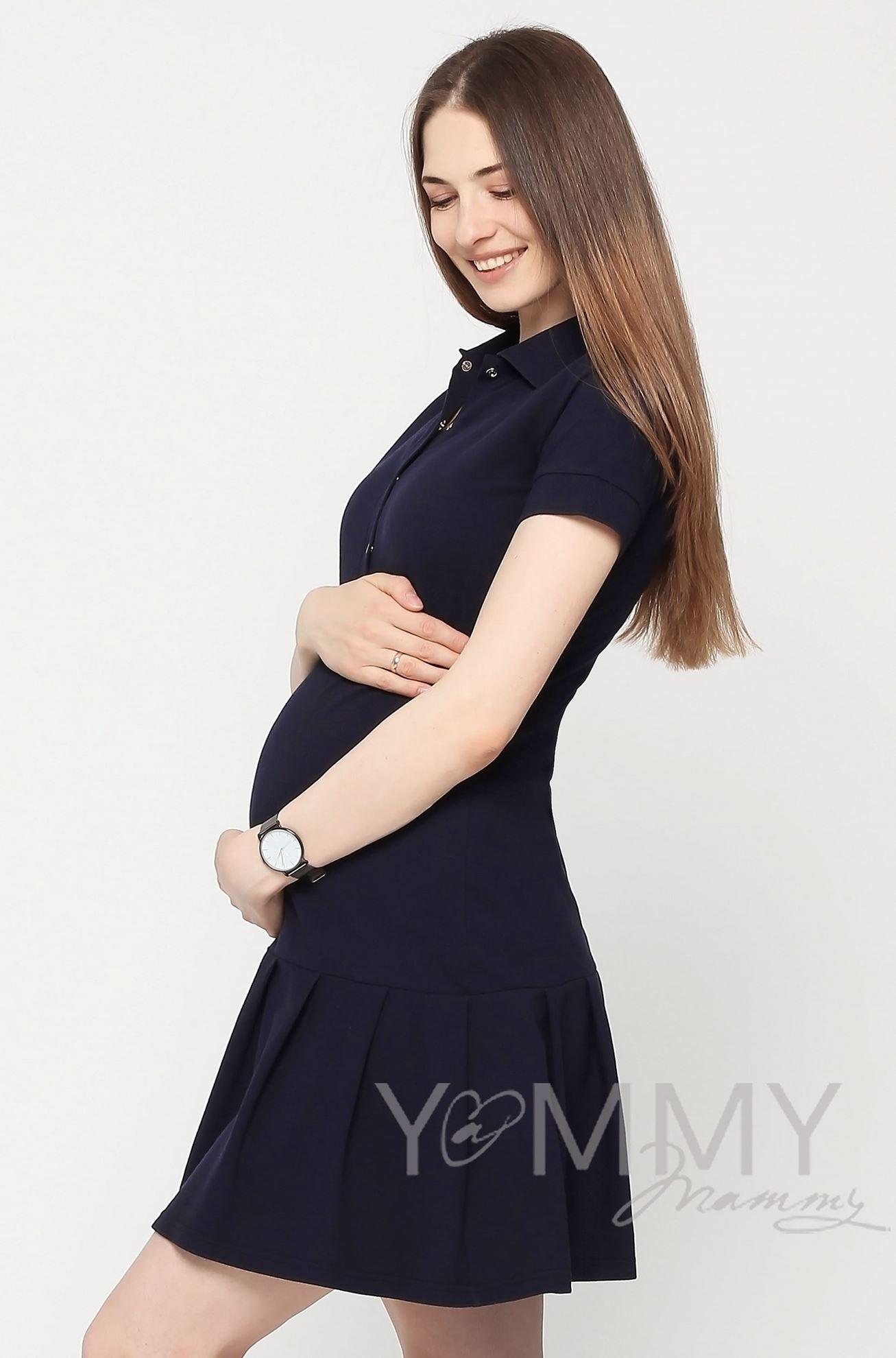 Изображение                               Платье поло с воланом темно-синее