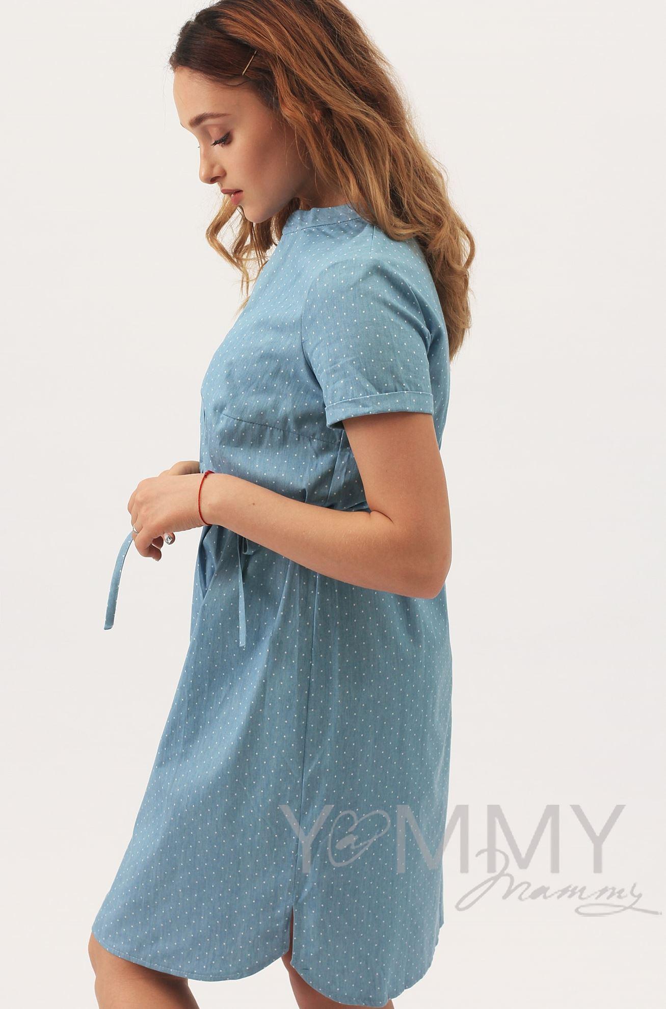 Изображение                               Платье-рубашка джинсовое в белый горошек