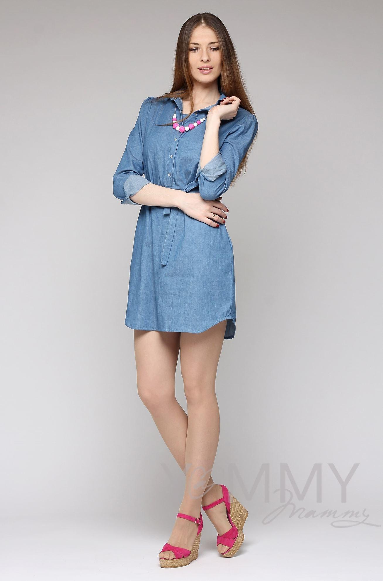Изображение                               Платье-рубашка джинсовое с длинным рукавом