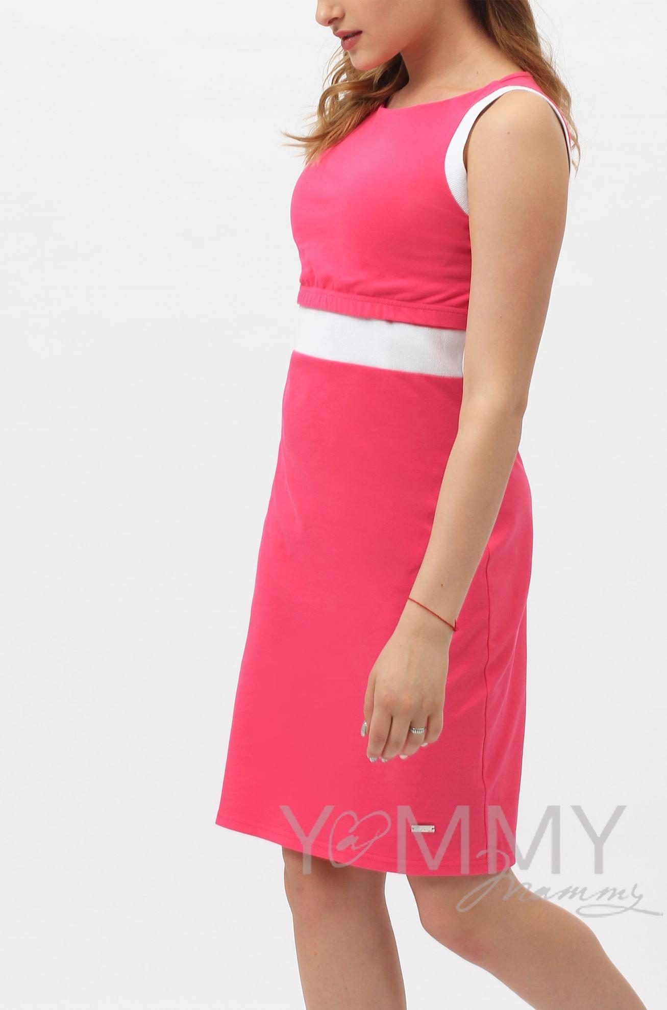 Изображение                               Платье лакоста фуксия с белой отделкой