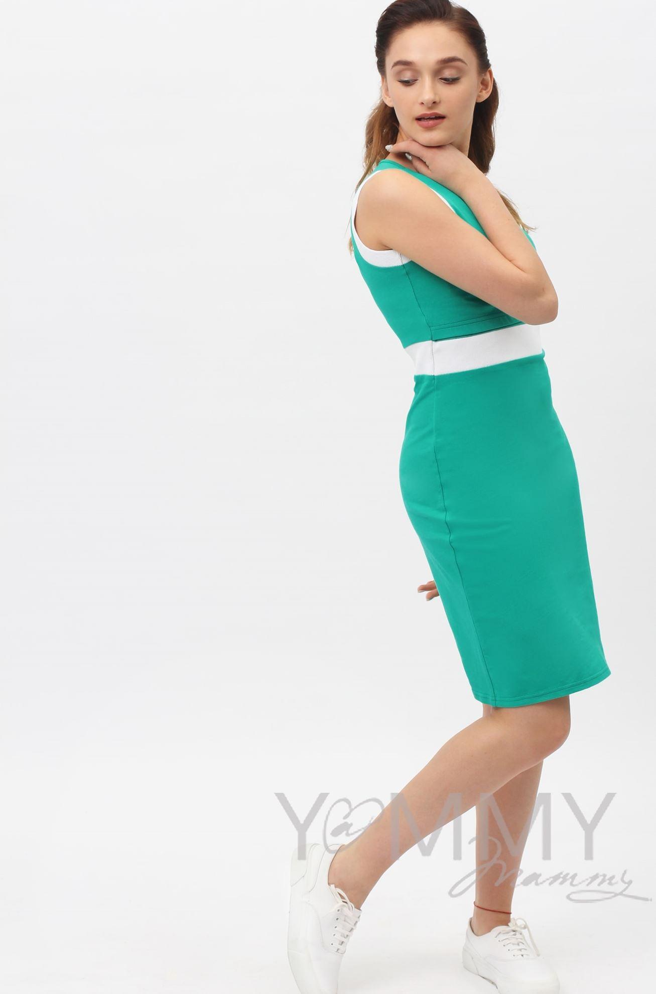 Изображение                               Платье лакоста ментол с белой отделкой