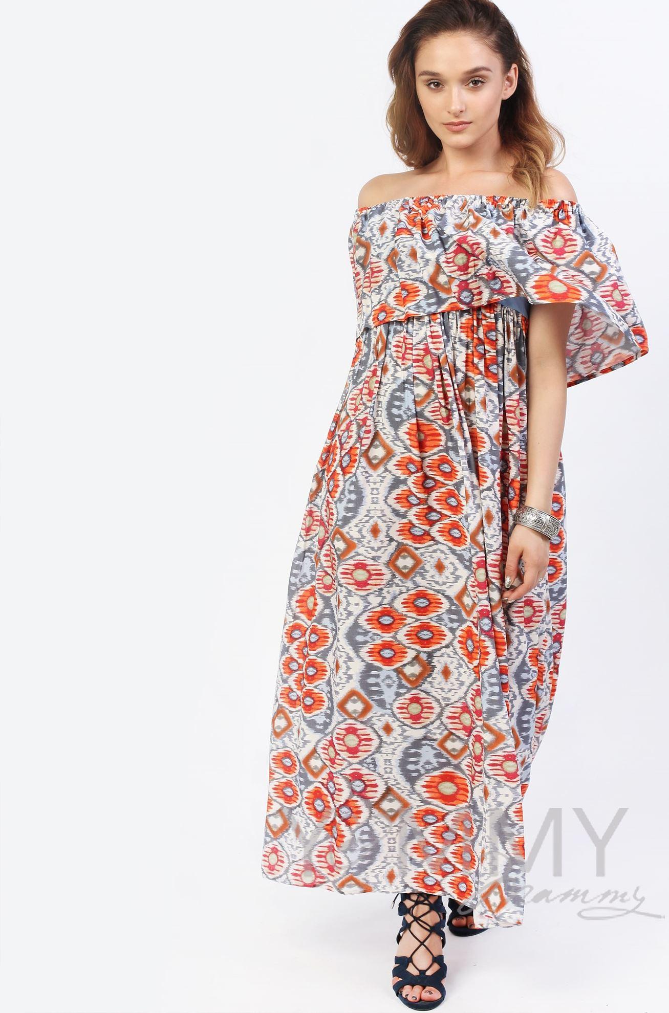 Изображение                               Платье-сарафан с оборкой по плечам оранжевое