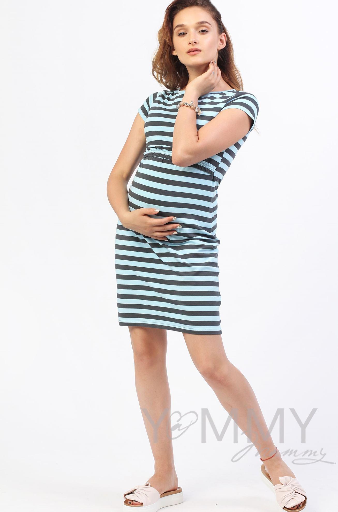 Изображение                               Платье голубое в серую полоску