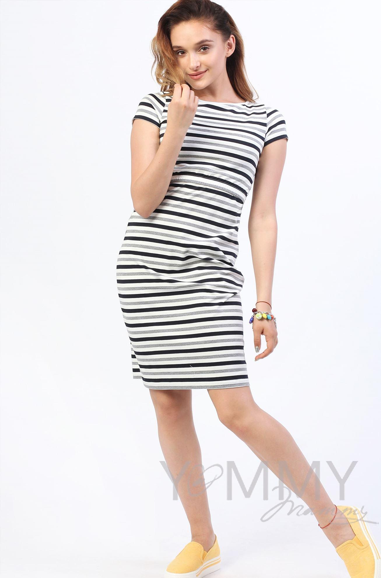Изображение                               Платье белое в полоску серый меланж/черный