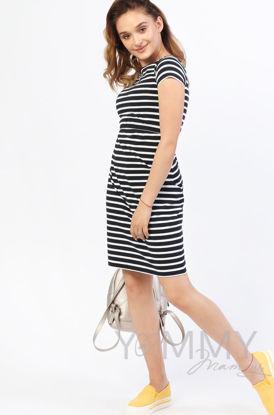 Изображение                               Платье белое в темно-синюю полоску
