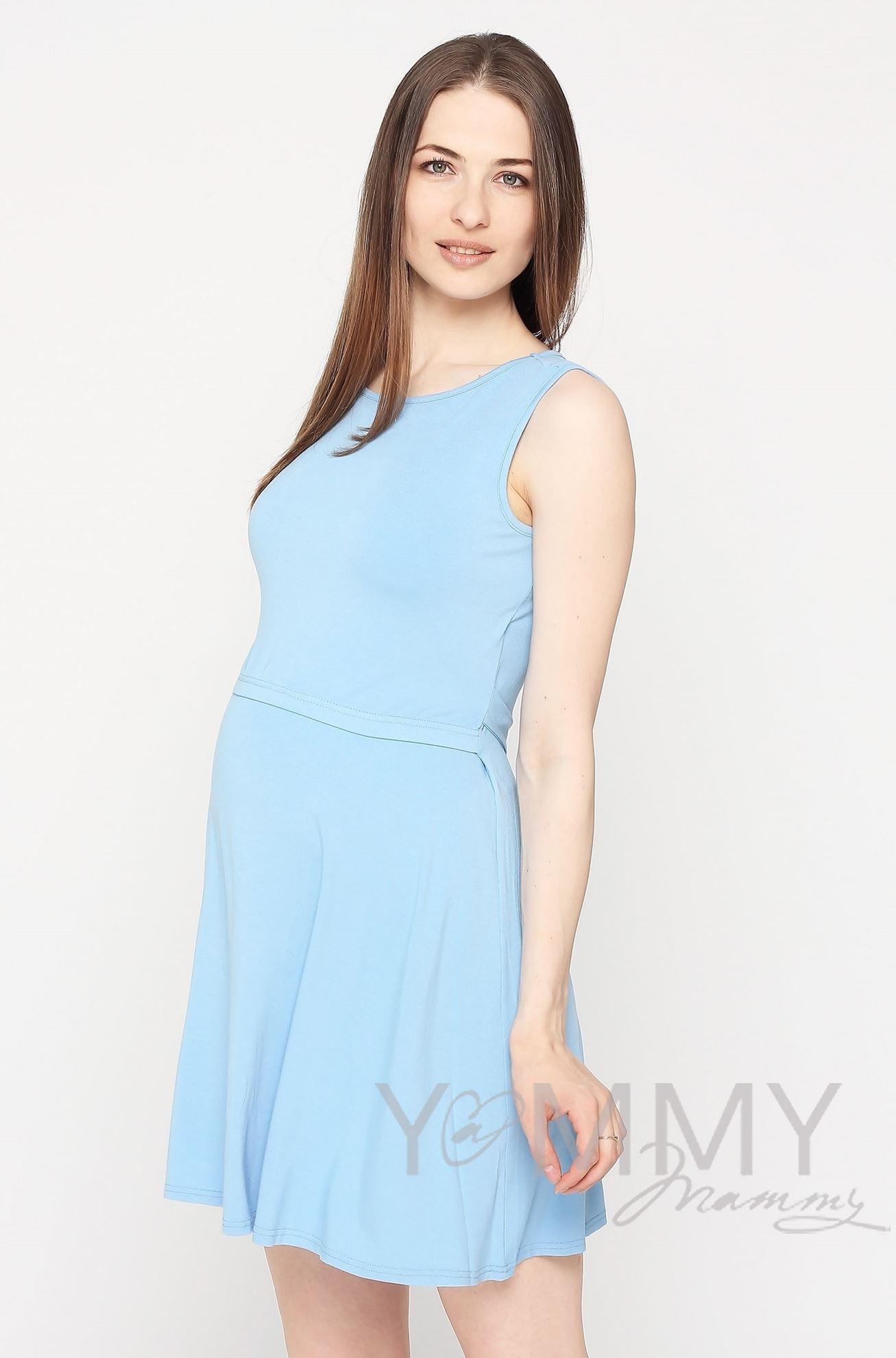 Изображение                               Платье с пояском голубое