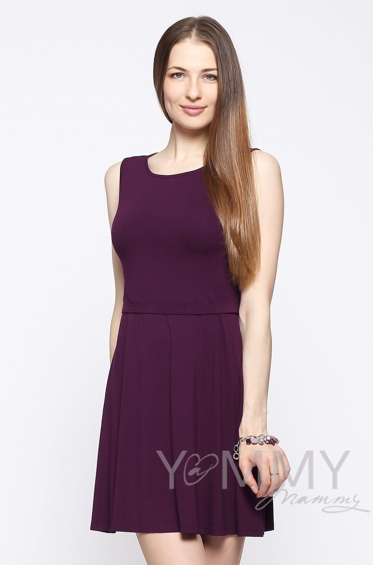 Изображение                               Платье с пояском темно-лиловое
