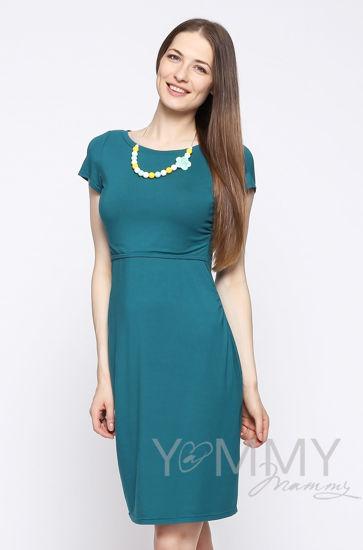 Изображение                               Платье из модала с коротким рукавом изумрудное