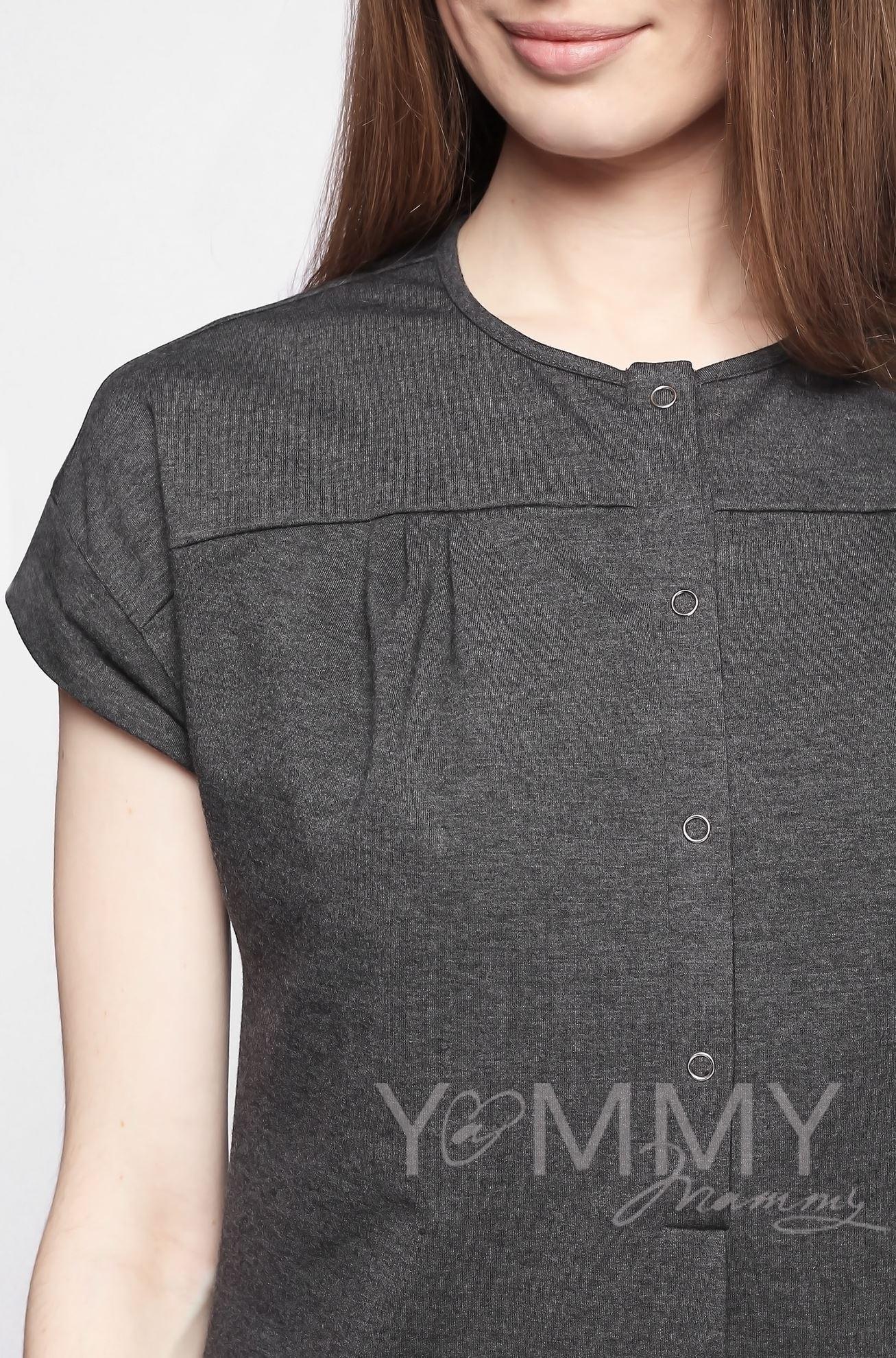 Изображение                               Платье на кнопках темно-серый меланж