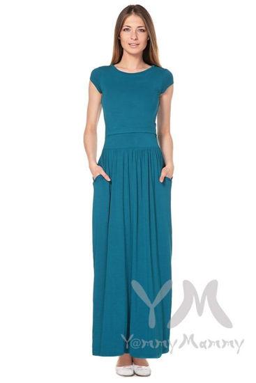 Изображение                               Платье длинное с карманам изумруд