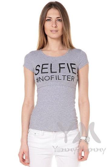 """Изображение                               Футболка серый меланж """"Selfie"""""""