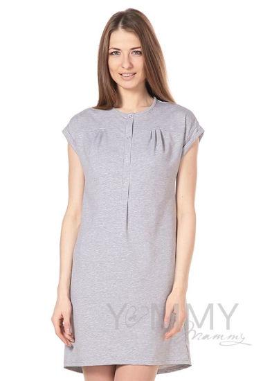 Изображение                               Платье на кнопках серый меланж
