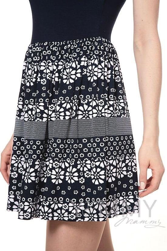 Изображение                               Платье с юбкой на сборке темно-синее с цветочным принтом
