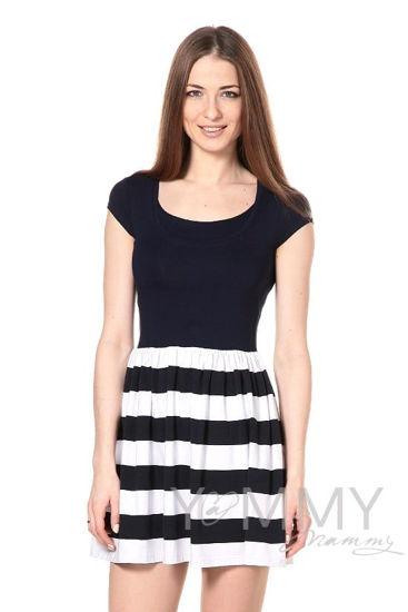 Изображение                               Платье с юбкой на сборке темно-синее в полоску