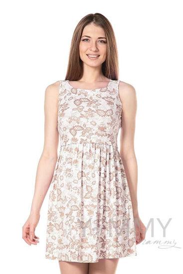 Изображение                               Платье с круглым вырезом и цветочным принтом экрю