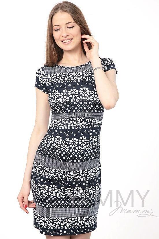 Изображение                               Платье темно-синее с цветочным принтом