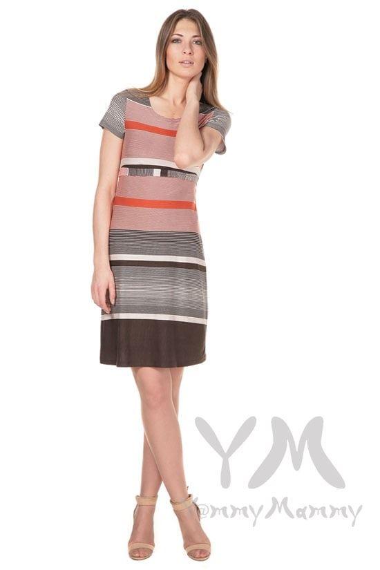 Изображение                               Платье с пояском теракот / коричневая / бежевая полоска 1