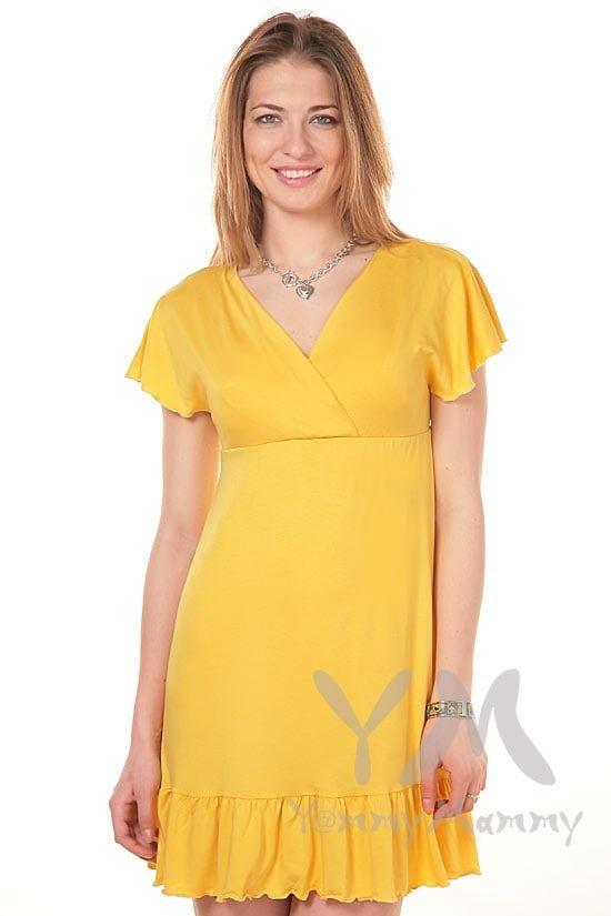 Изображение                               Платье с крылышками янтарно-желтое
