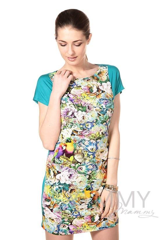 Изображение                               Платье-туника морская волна с цветочным принтом